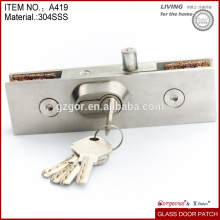 stainless steel glass door lock/ China high quality fitting lock