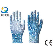 Garden Gloves, Printing Polyestershell Transparent Nitrile Coated Smooth Finish, Safety Work (N6048)