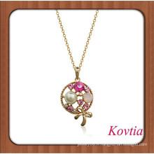 Pendentif en forme de lollipop exquis en pendentif en cristal et perle en incrustation