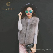 Fashion Real Fox Fur Vest women with Real Leather Stripes