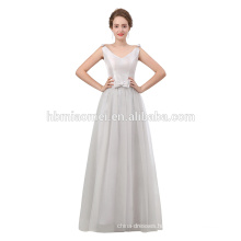 Silver color Evening Dresses Long Gowns Women round neck Floor Length Beaded Satin 2018 Special Occasion Gowns For Ladies