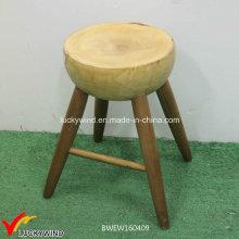 Ручной круглый деревянный табурет с естественной отделкой