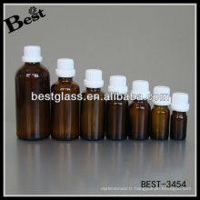 Bouteille d'huile essentielle marron 20ml Bouteille d'huile essentielle marron 20ml avec bouchon de sécurité en plastique blanc Bouteille d'huile essentielle en verre 20ml
