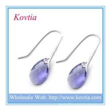 Wedding accessory crystal drop 925 sterling silver dangle earring