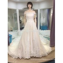 Wedding dress 2017 new word shoulder big tail bride wedding luxury long tailing Korean wedding spring LJ-10050