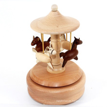 FQ marca personalizado caixa de música carrossel de presente de moda de madeira original meninas