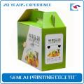 Senacai impressão colorida caixa de presente de papelão ondulado com alça para frutas
