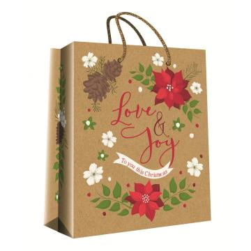 CHRISTMAS SERIES KRAFT GIFTBAG10-0