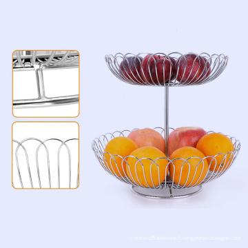 Stainless steel 2 tier fruit basket bowl wire mesh fruit plate basket