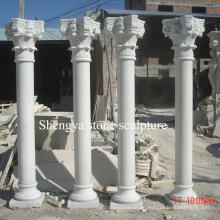 Columna de mármol blanco de la escultura de la piedra para la decoración casera (SY-C016)