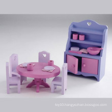 Cheap Play Set Toy Fancy Wooden Dining Room Toy with Cabinet Cupboard Table and Chair