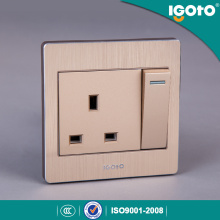 British Standard 250V 13A Wall Switched Socket Steel Plate Electric Switch