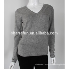 Sharrefun classical style v neck 12gg cashmere silk sweater