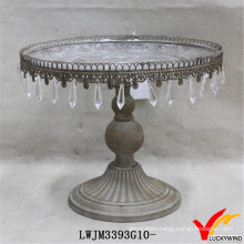 Shabby Chic Metal Cake Stand with Hanging Crystals