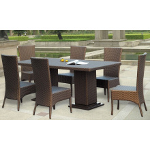 Kompakte Outdoor Rattan-Tisch und Stühle billige Restaurants Set