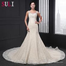 Q-011 de lujo sirena u cuello de encaje vestido de boda cequis 2016