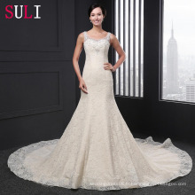 Q-011 Robe de mariée en marbrure en dentelle en dentelle de luxe en soie 2016