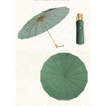 Customized 16K Luxury RPET Golden Frame Pocket 3 Folding Umbrella