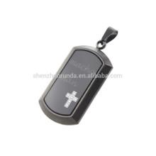 Novo design em aço inoxidável preto pingente e vidro banhado