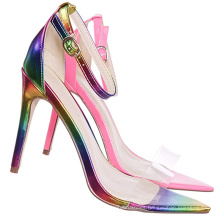 Rainbow Sandals Wholesale Sandals Custom Ankle Strap Womens Kitten Heels Stiletto Shoes With Pointed Open Toe Sandal for Ladies