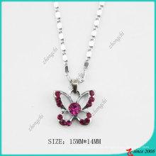 Colar de borboleta rosa cristal moda rosa (PN)
