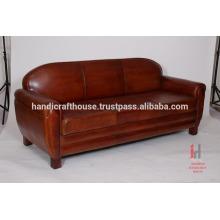 Cuero antiguo marrón 3 plazas sofá salón