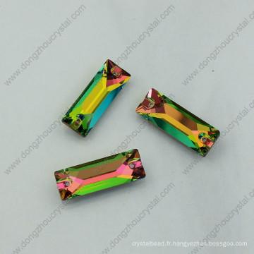 Rainbow Color Coudre sur des pierres Strass Beads avec deux trous