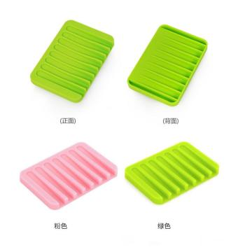 Silicone Rectangle Soap Holder Dish Bathroom Accessories