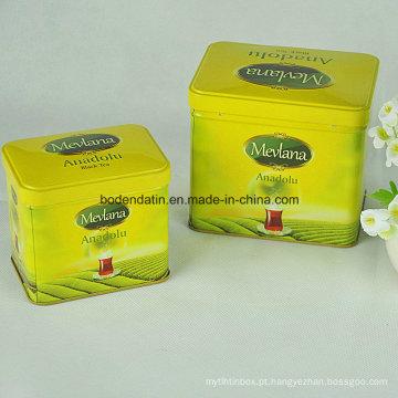 Tin Box Factory Manufacturing Recatngular Tea Gift Packaging Conjuntos de lata