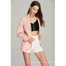 blazer de mujer casual rosa de moda para primavera otoño