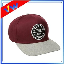 6 Panels Wool Brim Patch Logo Cap