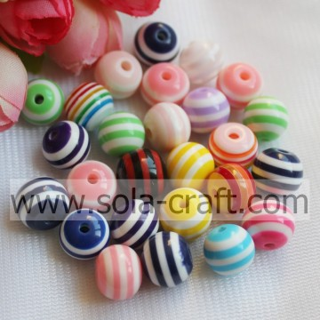 8MM Wholesale Mixed Colors Cheap Loose Plastic Striped Resin Jewelry Beads Fit European Charm Bracelet
