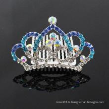 Rhinestone Crystal Silver Tiaras Poils pour cheveux pour enfants