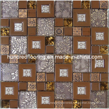 Wall Tile, Glass Mix Stainless Steel Metal Mosaic (SM204)