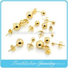 2016 Hot selling vacuum plating 14k gold stud ball earrings jewelry for women