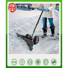 Retractable manual handy snow push shovel with wheel tool cart