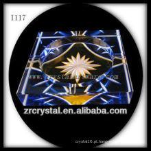 Cinzeiro de cristal K9 com imagem gravada a mão