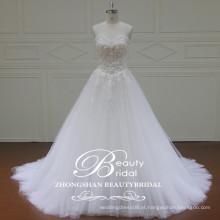 Romantic Luxury Sweetheart 2017 Alibaba Chá Comprimento Vestido De Casamento A-Line Vestido De Casamento De Renda