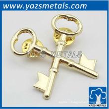 на заказ металлический крест брелок pin отворотом с плакировкой золота