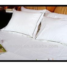 100% cotton hotel fujita square pillow cases with dark blue piping