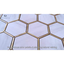 Soulscrafts Marble Look and Metal Hexagon Ceramic Mosaic Tile White Porcelain Mosaic