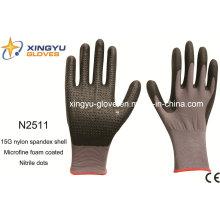Nylon Spandex Shell Nitrilo guantes de trabajo recubiertos Saftey (N2511)