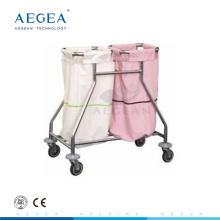 AG-SS019 2 boîtes théâtre équipement hôpital chariot coiffeuse métal panier en acier