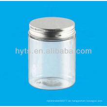 Kosmetisches Plastikgefäß des PET-250ml mit Aluminiumkappe
