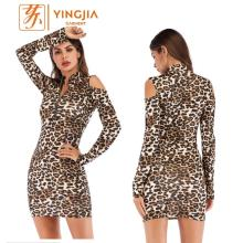 Wanita Sexy Bodycon Print Leopard Long Sleeve Dress