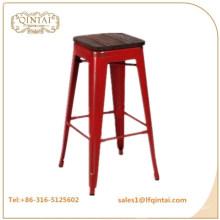 QTMC-021 vende hierro barato al por mayor sin taburete trasero con tapa de madera para productos de barra