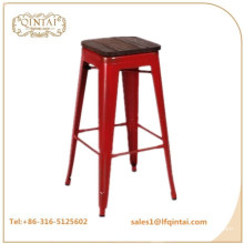 QTMC-021 wholesale cheap iron no back stool with wood top for bar product