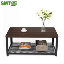 Vintage Cocktail Table with Storage Shelf for Living Room Wood Look Accent Furniture with Metal Frame Easy Assem coffee table