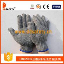 Guantes elásticos de calidad Ce Guantes grises de algodón / poliéster Dck503