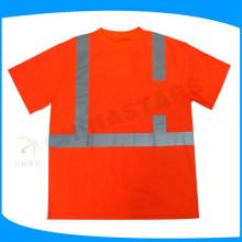 Clase 2 de alta visibilidad reflexiva camisa, camiseta de seguridad de manga corta, ANSI camiseta de seguridad